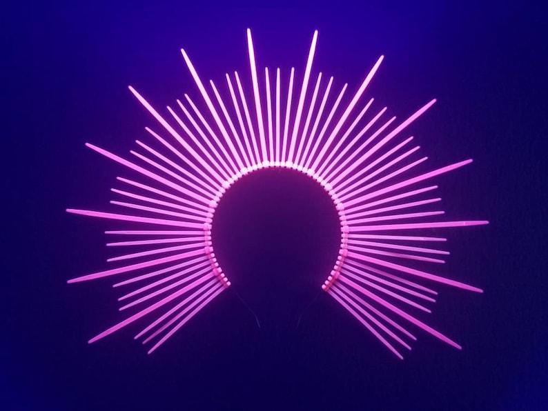 000e2b6aa8b1 Mary Halo Crown Neon UV Pink Spiked sunburst headband   Etsy