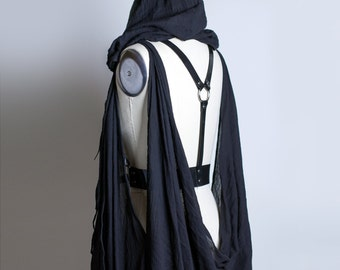 DRAPED CAPE HARNESS - Post Apocalyptic Harness Belt with Hood - Pvc or Leather - Gauze - Gothic Wraith Fashion - Deathrock - Wasteland