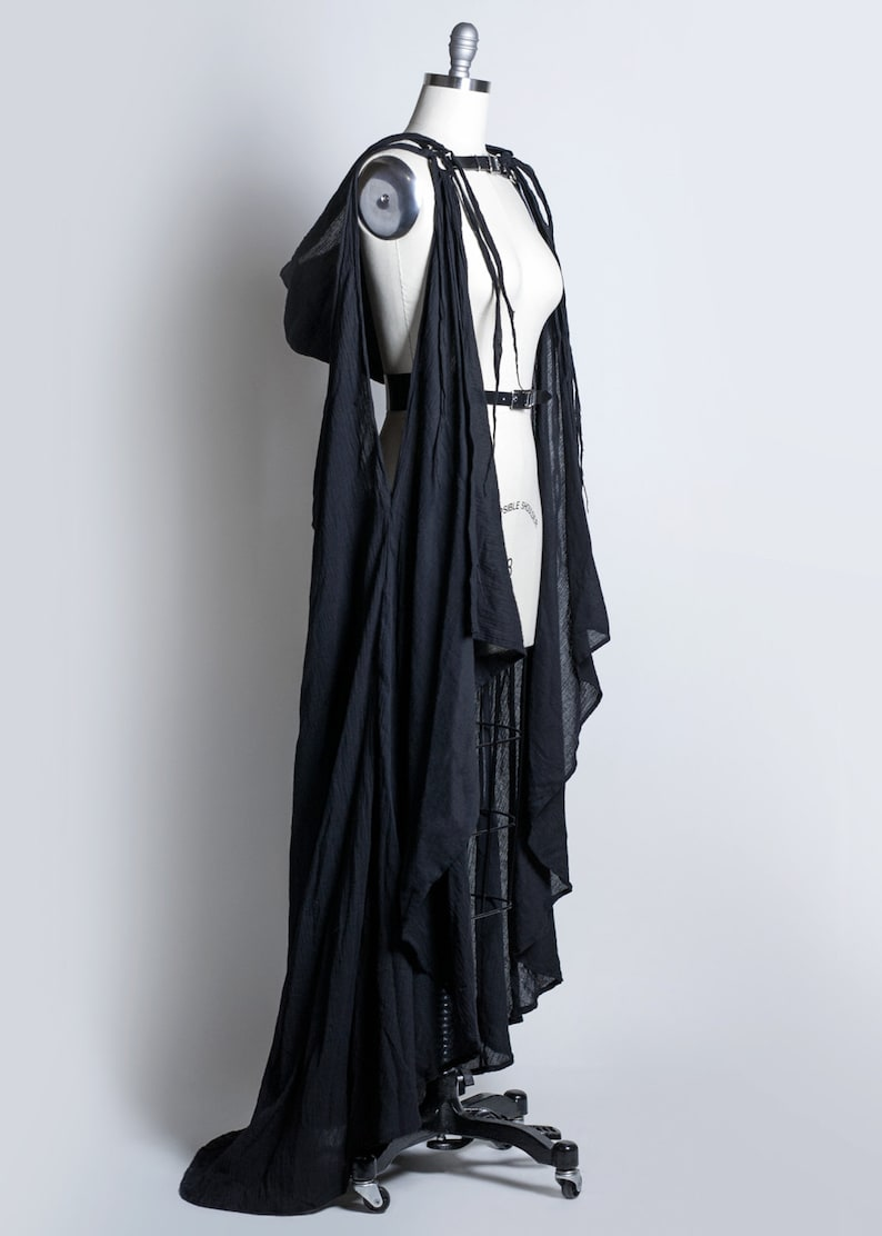 Wasteland DRAPED CAPE HARNESS Gothic Wraith Fashion Gauze Deathrock Pvc or Leather Post Apocalyptic Harness Belt with Hood