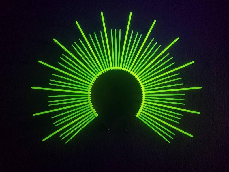 a400af162b59 Mary Halo Crown Neon UV Green Spiked sunburst headband   Etsy