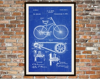 Blueprint Art of Patent Bicycle 1890 Technical Drawings Engineering Drawings Patent Blue Print Art Item 0025