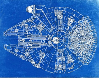 Star Wars Millennium Falcon Blueprint Art of The Millennium Falcon Top View Engineering Drawings Patent Blue Print Art Item 0190