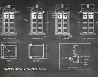 Tardis print poster dr who blueprint the tardis blueprint tardis print poster dr who blueprint the tardis blueprint 2006 art of the tardis whovian gift police box print art item 0212 malvernweather Images