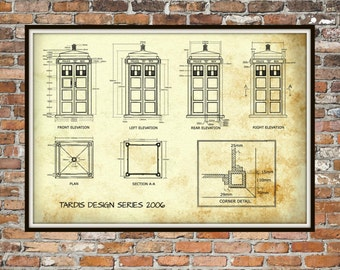 Synne lerhol on etsy tardis print poster dr who blueprint the tardis blueprint 2006 art of the tardis whovian gift police box print art item 0213 malvernweather Images