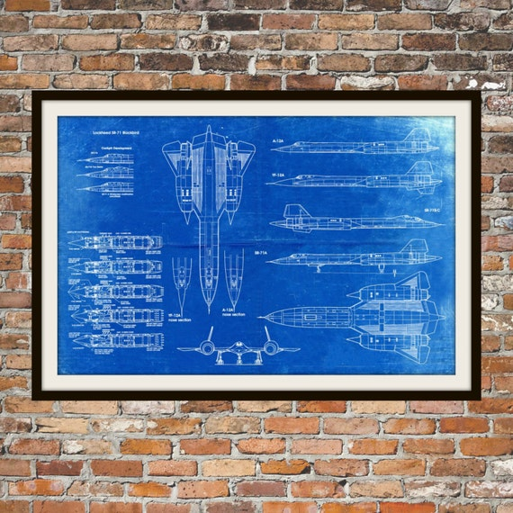 Blueprint art of sr71 blackbird variants technical drawings etsy image 0 malvernweather Gallery