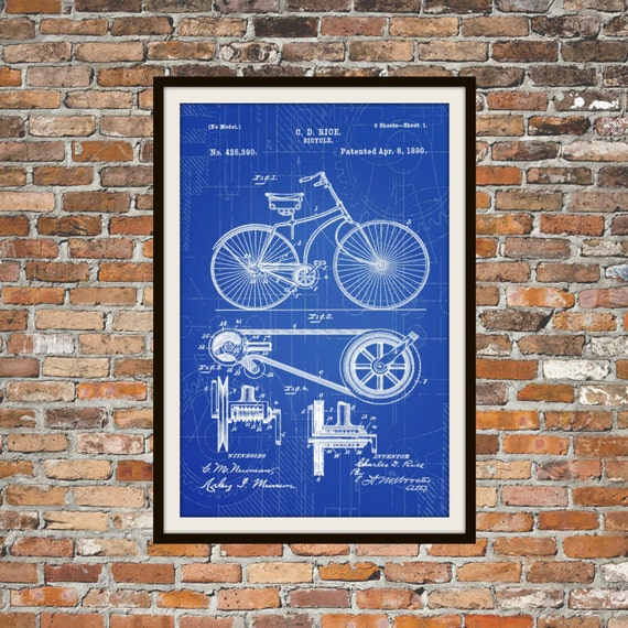 Blueprint art of patent bicycle 1890 technical drawings etsy malvernweather Gallery