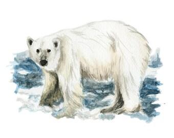 Watercolor Polar Bear Print, Polar Bear Art Print