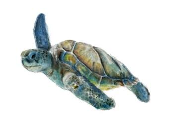 Watercolor Sea Turtle Print, Sea Turtle Art Print