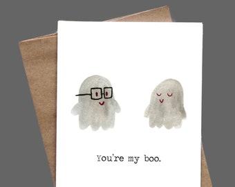 You're My Boo Greeting Card for Him Her I Love You Birthday Anniversary Boyfriend Girlfriend Husband Wife
