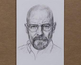 Breaking Bad, Walter White Pencil Drawing Print, Heisenberg Wall Art