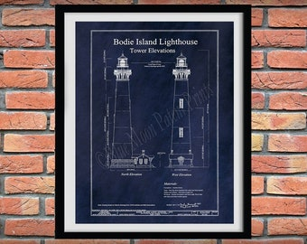 1872 Bodie Island Lighthouse Drawing, Body Island Lighthouse Blueprint, Bodie Island Lighthouse Print, Nautical Decor,Outer Banks Lighthouse