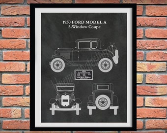 Model A Ford Coupe Poster, 1930 Model A Blueprint, 1930 Ford Model A 5 Window Coupe Drawing, Ford Model A Car Poster, Ford Model A Wall Art