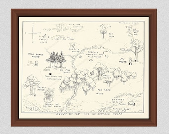 100 Acre Wood Drawing, Winnie the Pooh Print, 100 Aker Wood Drawing, 1926 E.H. Shepard Illustrative Map of Hundred Acre Wood – Reproduction