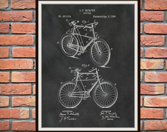 1898 Bicycle Patent Print - Bicycle Poster - Velocipede - 2 Wheel Bicycle - Antique Bicycle Drawing - Cyclist Gift Idea - Bicycle Blueprint