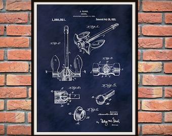 1921 Ship Anchor Patent Print - McNab Anchor Blueprint - Boat Anchor Poster - Nautical Decor - Boater Gift Idea - Sailboat Anchor Drawing