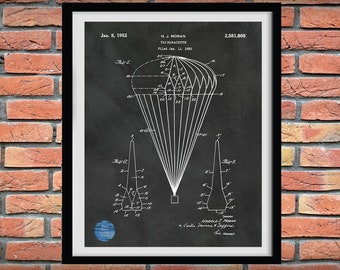 1950 T-10 Parachute Patent Print, 1952 T-10 Parachute Poster, Paratrooper Wall Art - Army Airborne Assault - Airborne Wall Art