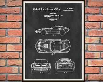 Patent 1966 Corvette - Sports Car - Poster - Wall Art - Chevrolet - Automobile Patent - Muscle Car - Home Office Garage Man Cave