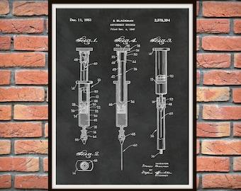 1951 Hypodermic Syringe Patent Print - Medical Poster - Medical Patent Print - Doctors Office Decor - Nurse Gift - Surgery - Hospital Decor