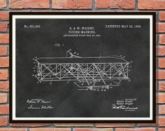 1906 Wright Brothers Airplane Patent Print - Flying Machine Art Print - Airplane Poster - Aviation Decor - Kitty Hawk Airplane Print