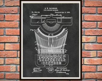 1886 Typewriter Patent Print - Typewriter Poster - Secretary Decor - Writer Gift Idea - Stenographer Print - Court Reporter Gift Idea