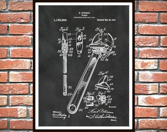1915 Crescent Wrench Patent Print - Poster - Mechanics Decor - Carpenter Decor - Mechanic Gift Idea - Auto Repair Shop Decor