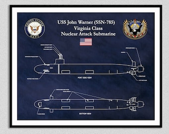 USS John Warner SSN 785, Virginia Class Submarine Blueprint, USS Virginia Class Submarine Poster, Virginia Class Nuclear Submarine Drawing