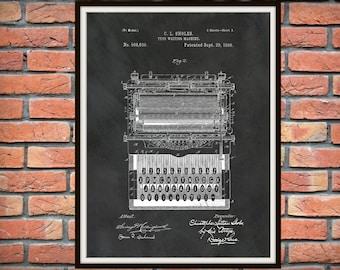 Patent 1896 Typewriter British non-QWERTY Typing Machine - Poster - Secretary Wall Art - Office Wall Art - Stenographer Art - Transcription