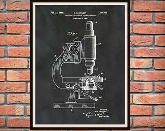 1948 Microscope Patent Print - 1948 Microscope Poster - Science Lab Wall Art - Doctors Office Art - Medical Research Decor - CDC Wall Art