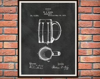 1876 Beer Mug Patent Print - Beer Mug Poster - Beer Stein - Tavern Decor - Craft Beer Decor - Oktoberfest Art Print - Microbrewery Decor-