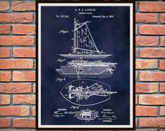 Patent 1883 Fishing Boat - Fishing Float - Sailboat - Down Rigger - Dinghy - Art Print - Poster - Marina Wall Art - Sailor Art