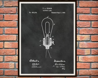 1882 Thomas Edison Patent Print - Edison Electric Light Bulb Patent Print - Thomas Edison Invention Patent - Electrician Gift Idea