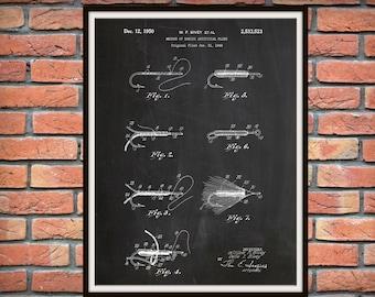 1950 Fishing Lures and Flies Patent Print, Fishing Camp Decor - Fishing Tackle Poster, Fisherman Gift Idea, Fishing Lure Blueprint