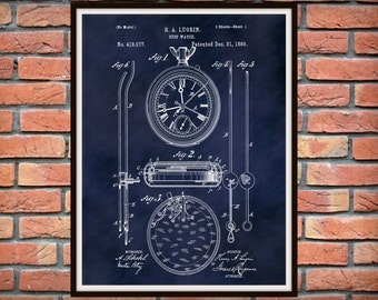 1889 Pocket Watch Patent Print - Stop Watch Patent Print - Time Piece - Poster - Clock - Home or Office Decor - Watch Collector Gift