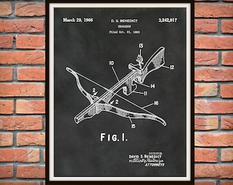 1966 Crossbow Patent Print - Crossbow Poster - Hunting Poster - Crossbow Weapon - Man Cave Decor - Hunter Gift Idea