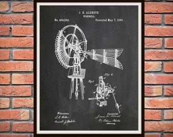 Patent 1889 Windmill - Art Print Poster Wall Art - Farm Wall Art - Water Pumping Device - Grain Milling Device - Farm Decor -  Home Decor
