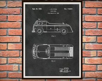 Patent 1939 Fire Truck Art Print or Poster - Wall Art -  Firemen - Fire Man - Fire House Art Drawing Illustration