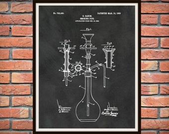 1902 Smoking Pipe Patent Print - Hookah Pipe Patent Print - Turkish Tobacco Water Pipe - Cannabis Water Bong Print - Pot Pipe Print -