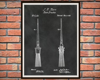 Patent 1868 Paint Brushes Art Print Designed by Joseph Moore - Poster Print - Wall Art - Painting Item