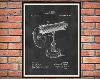 Patent 1874 Kaleidoscope Wall Art Print - Game Patent -Toy - Early High Tech - Game Room Wall Art