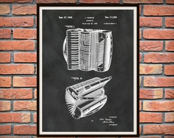 Patent 1938 Accordion Designed for Hohner - Art Print - Poster - Musical Instrument - School Music Room Art - Home - Office Wall Art - Polka
