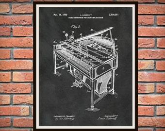 1950 Piano Patent Print - Grand Piano Patent Print - Musical Instrument - Orchestra Decor - Pianist Gift Idea