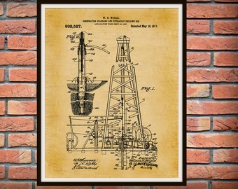 1911 Oil Drilling Rig Patent Print - Oil Rig Poster Print - Texas Oil Rig - Hydraulic Drilling Rig Art Print