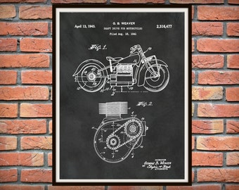 1943 Indian Motorcycle Patent Print - 1943 Indian Motorcycle Poster - Man Cave Decor - 1943 Indian Motorcycle Blueprint - Cycle Shop Decor