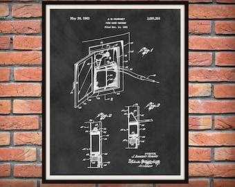 1963 Fire Hose Cabinet  Patent Print - Fireman Poster - Firehouse Decor - Firefighter Gift Idea - Fire and Rescue Art - Fire Truck Equipment