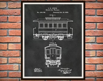 1879 Streetcar Patent Print - San Francisco Streetcar Blueprint - Streetcar Poster - Streetcar Art - Streetcar Decor - Streetcar Invention