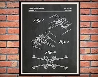 Patent 1980 Star Wars X-Wing Fighter - Art Print - Poster Print - George Lucas - Lucas film - Return of the Jedi - Star Wars Wall Art