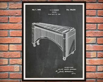 1936 Marimba Patent Print - Xylophone Patent Print - Music Room Decor - Orchestra Art - Marching Band Instrument - Jazz Band Gift