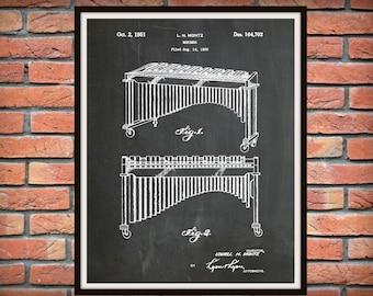 1951 Marimba Patent Print - Xylophone - Music Room Decor - Orchestra Wall Art - Marching Band Instrument - Jazz Band Decor - Band Gift