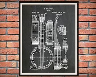 Patent 1882 Banjo - Musical Instrument Art Print - String Instrument - Wall Art - Blue Grass Art - Folk Art - Country Music Wall Art