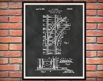 1932 Railroad Tracks Patent Print  - Train Tracks Poster - Locomotive Decor - Railway Station Decor - Railroad Decor - Train Collector Gift